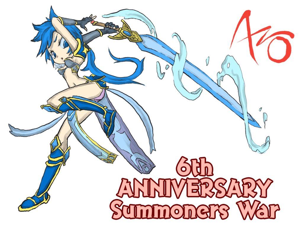 【サマナイラスト倉庫】水魔法剣士ラピスさん(全員配布ユニット)【summonerswar6th】